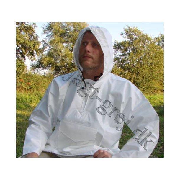 Busseronne/anorak med hætte i hvid